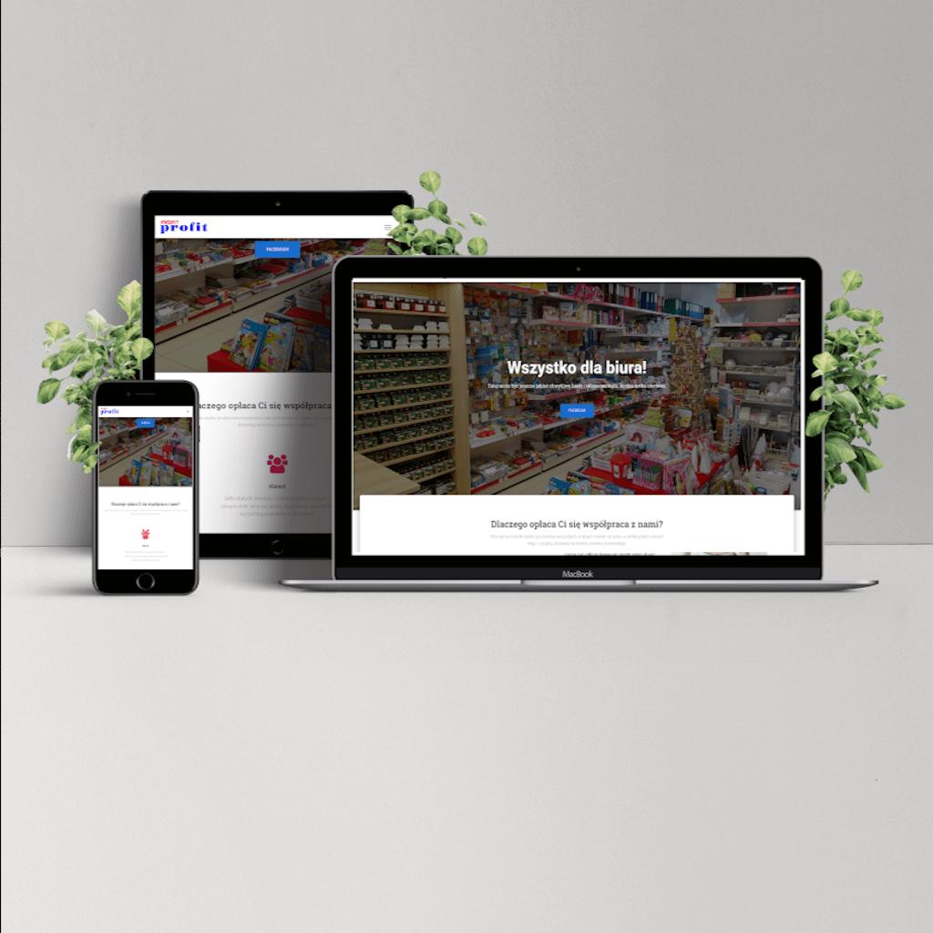 Strona internetowa dla sklepu papierniczego.
